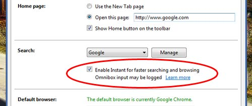 Enable Chrome Instant